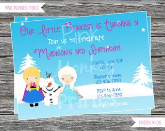 DIY - Girl Snow Princess Party Birthday Invitation #406- Coordinating Items Available