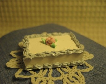 Hand made single rose sheet cake