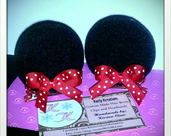 Minnie Mouse hair clips, Minnie Mouse ear Clips, Alligator clips