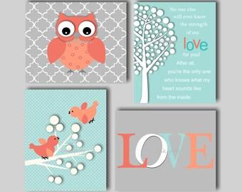Baby Girl Nursery Art Owl Nursery Prints Baby Bird Nursery Art  Nursery Owl Decor Girls Owl Wall Art - Choose Colors - Owl Prints OW1517