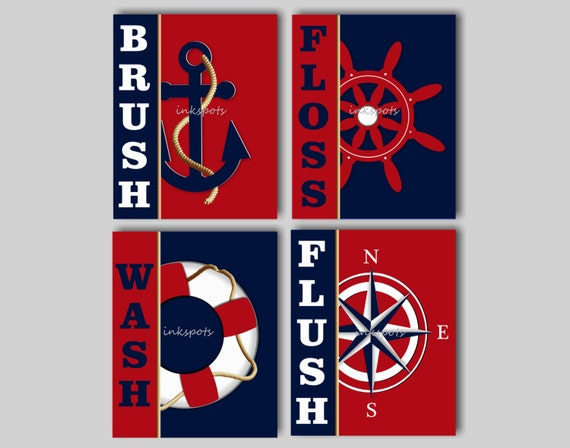 Kids Bathroom Wall Art Kids Nautical Bath Prints Splash Flush