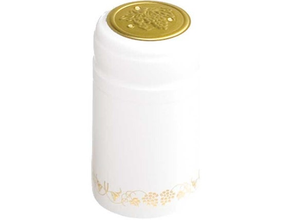 Home Wine Making White With Gold Grapes Thermoseal Heat Shrink Decorative Hoods For Wine Bottles