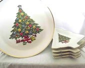 Vintage Serving Set Christmas Plate Set Pedestal Plate Dessert Set Red White Green Gold Mount Clemens Pedestal Plate Set Holiday Serveware