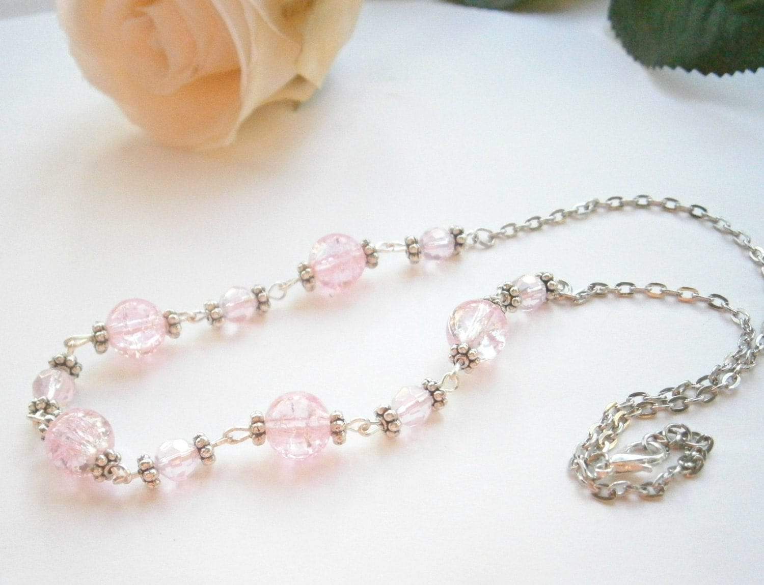 light pink necklace glass bead jewelry by glamoroussparkle