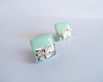 Mint Silver Square Stud Earrings - Hypoallergenic Titanium Posts