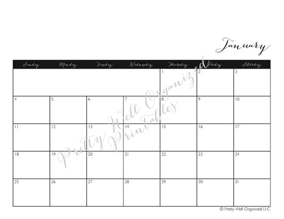 Weekly Calendar Horizontal : Printable calendar horizontal monthly by