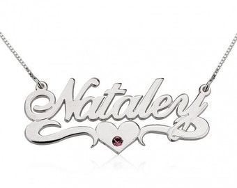 Sterling Silver Swarovski with Middle Heart Name Necklace
