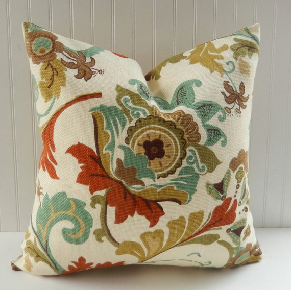 Large Teal Throw Pillow : Floral Decorative Pillow Cover Teal Rust Olive Green Large