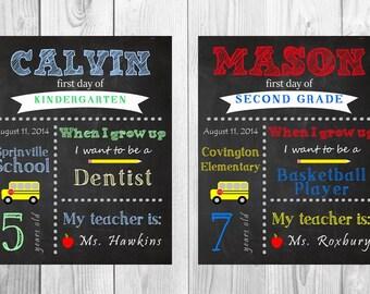 CUSTOM colors First day of School Chalkboard design digital file - back to school, first day of preschool, kindergarten, first grade, grade