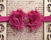 Mauve pink shabby chic flower elastic headband with rhinestone embellishment