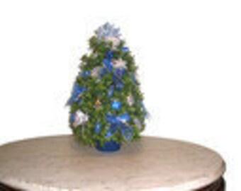 Blue and Silver Handmade Christmas Tree, Table Top, Boxwood