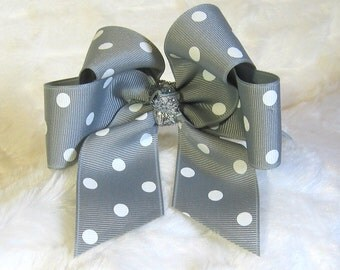 Silver Grey with White Polka Dots 4 Inch Single Hair Bow Tied with a Silver Glitter Center Tie