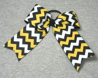 Big Cheer Bow - Large Black gold and White Hair Bow in a Chevron Stripe Pattern