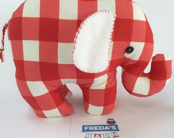 Handmade Elephant Doorstop / Bookend in Blue, Pink or Red Check Personalise with Baby Name Made to order by Freda's Barn