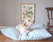 Chevron Dog Bed Cover, Sea Blue and Natural Pet Bed, Personalizable Duvet Cover, Choose Your Size