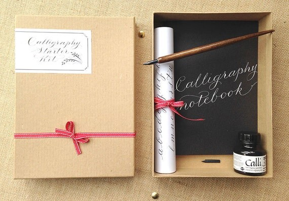 Boxed calligraphy kit with notebook