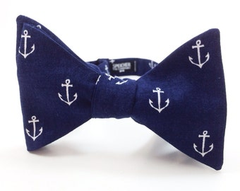 Nautical Anchor on Navy Bow Tie - bowtie, bow ties, bowties, anchors, fun, cool, beach, boat, ship, summer, wedding, self tie, pretied, mens