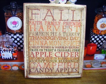 Harvest Words Miniature Wooden Plaque 1:12 scale for Dollhouses