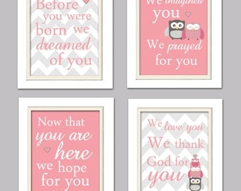 Nursery Quad, Pink and Grey Nursery, Owl Nursery, Owl Prints, Set of 4 8X10, Pink, Grey, Nursery Poem