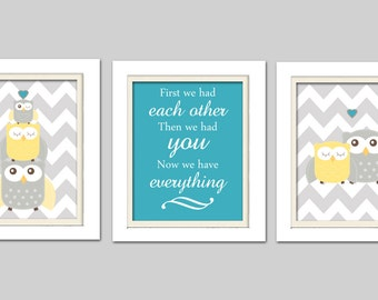 Nursery Art Trio, Nursery Owl Art, Teal and gray nursery, Grey and Yellow Nursery, Owl Nursery, Set of 3 8x10
