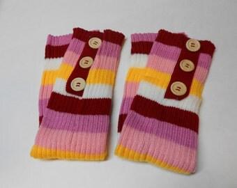 shades of pink knit leg warmers