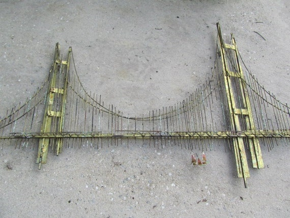 Golden Gate Bridge Metal Sculpture 1970s Art Retro Art Wall Decor Wall