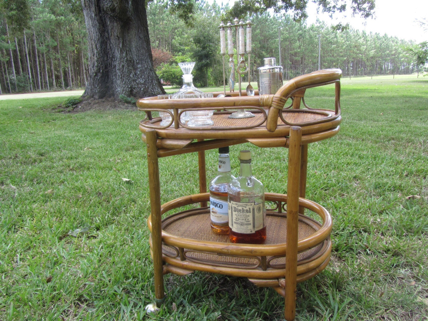 Retro Tea Trolley Bamboo Cart Boho Furniture Serving Tray Rolling Table Home Bar Beach Bar