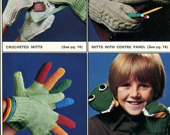 Crochet & Knitting 12 designs FAMILY GLOVES and MITTS Pattern Book - Cute Dragon + Stitch Variations - Original Not a Pdf Kenyon Books