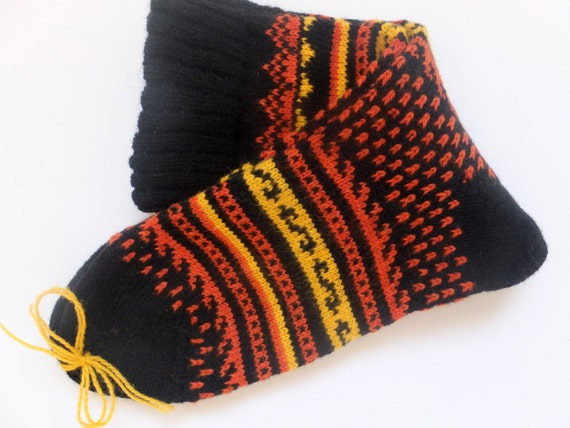 Knitting Pattern Wool Socks : Items similar to Wool Socks with patterns Knit socks Black wool socks with pa...