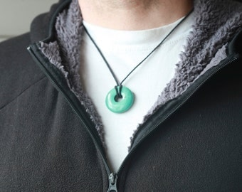Mens turquoise necklace, turquoise doughnut pendant
