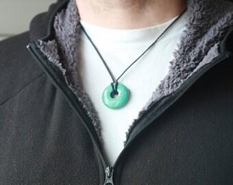 Turquoise pendant etsy mens turquoise necklace turquoise doughnut pendant aloadofball Image collections