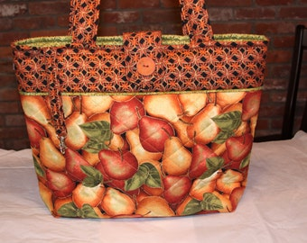 Autumn Pears Quilted Tote Bag