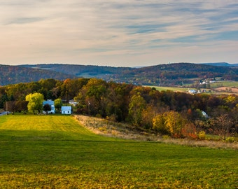 View of rolling hills in rural Frederick County, Maryland - Nature Photography Fine Art Print or Wrapped Canvas Home Decor