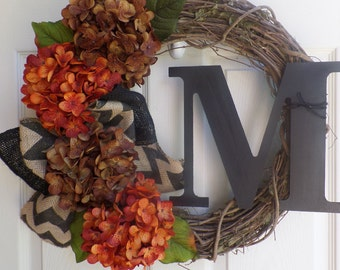 Fall wreath - Monogram wreath - Rustic wreath - Grapevine wreath - Outdoor wreath