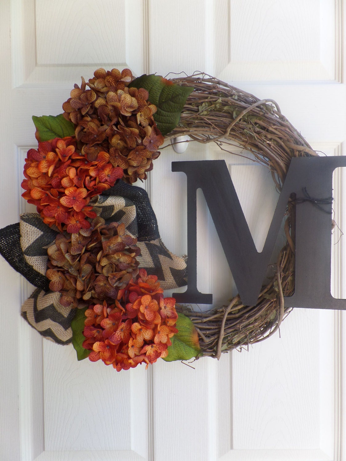 Fall Wreath Monogram Wreath Rustic Wreath Grapevine