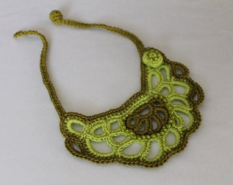 Light Green, Khaki Freeform Crochet Necklace