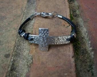Hammered Cross Leather Bracelet.