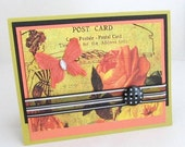 Carte Postale - Any Occasion - French Postcard - Vibrant Gold and Coral - French Theme - Blank Card - Butterfly - Black and White Accents