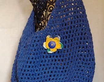 Crochet Bright Blue Bag with Removable Flower