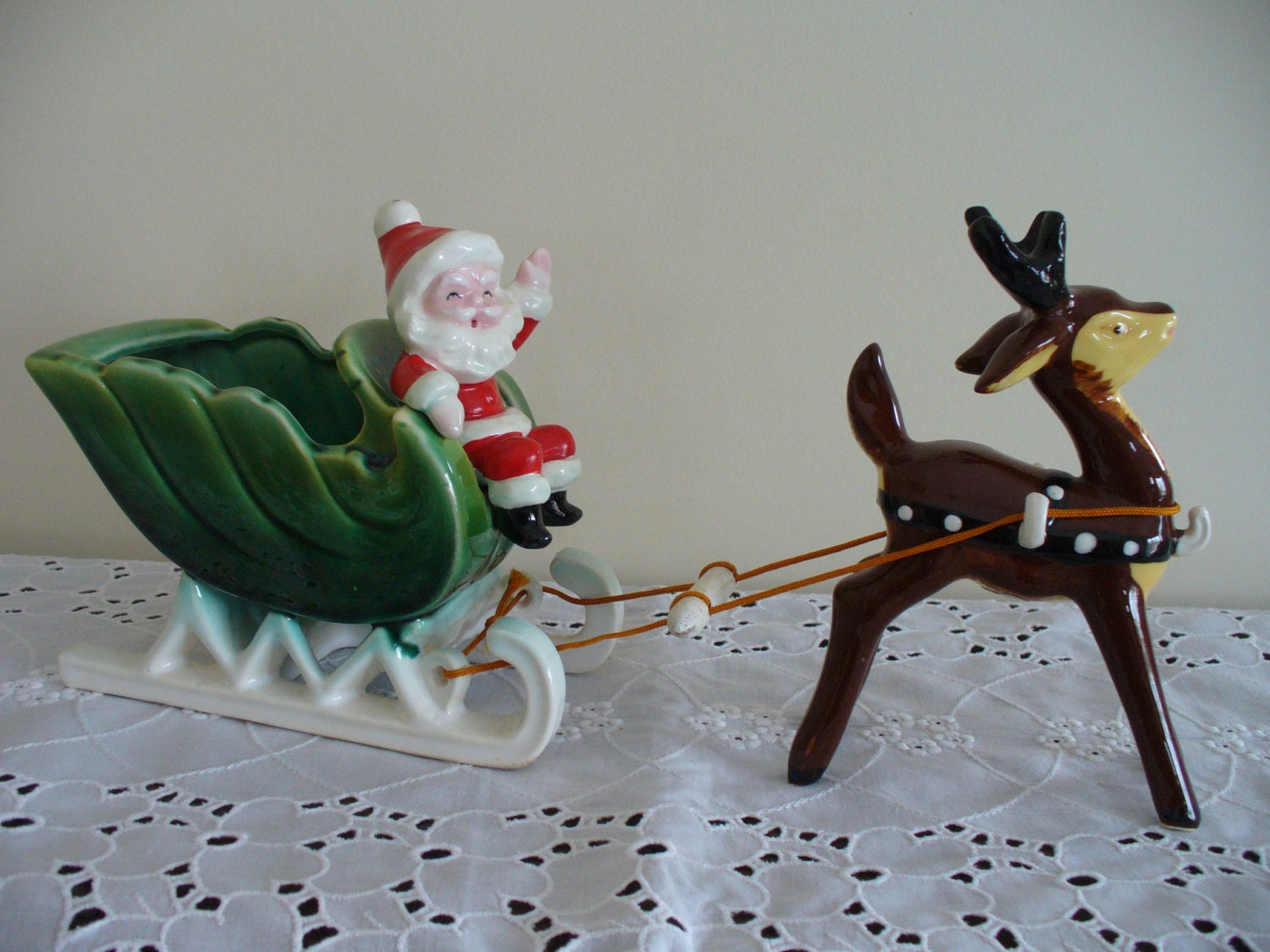 Vintage Napco 1950 S Made In Japan Santa Sleigh Candy