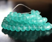 100 approx. sea glass light green 8 mm frosted glass beads, 1mm hole, round glass beads