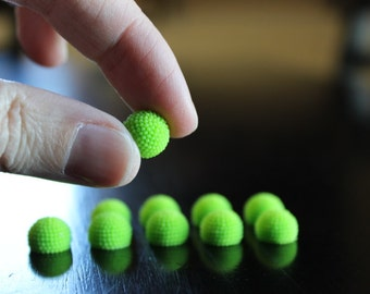 10 resin round lime green cabochons, cute close together bumpy, flat back, perfect for post earrings, 10 x 7 mm