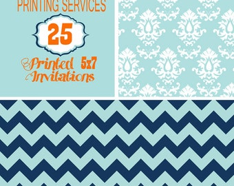 Printing Services for 25, 5X7 size invitation including envelopes