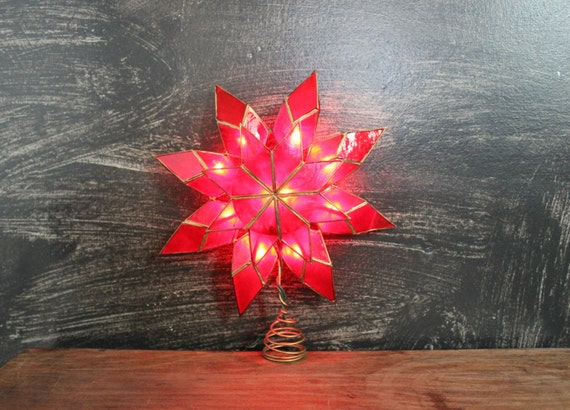 Vintage Christmas Tree Topper Light Up Red Poinsettia