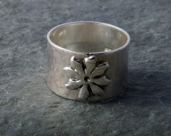 CUSTOM MADE Sterling Silver Flower Ring Fully UK Hallmarked Handmade choose your size custom made to order