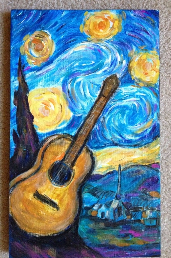 items similar to original painting starry night guitar painting vincent van gogh hippie artsy. Black Bedroom Furniture Sets. Home Design Ideas