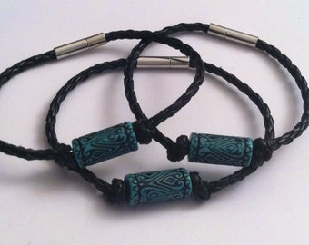 Tribal beaded bracelet on black braided cord