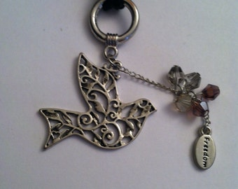 Dove pendant with faceted bead cluster on a cord necklace, dove pendant, necklace, spiritual