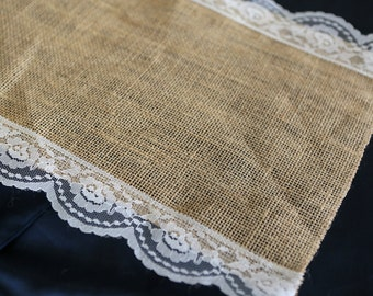 Burlap & Side Lace Table Runner with a Variety of Lace Color Options. Great for Weddings and Other Special Events. Rustic and Chic.