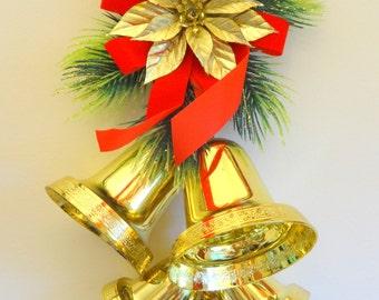 Retro Christmas Golden Bells Wall Hanging